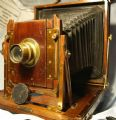 '         1/2 PLATE Butcher 'National' Camera + 2 DDs Cased Outfit -NICE- ' MAHOGANY & BRASS £199.99
